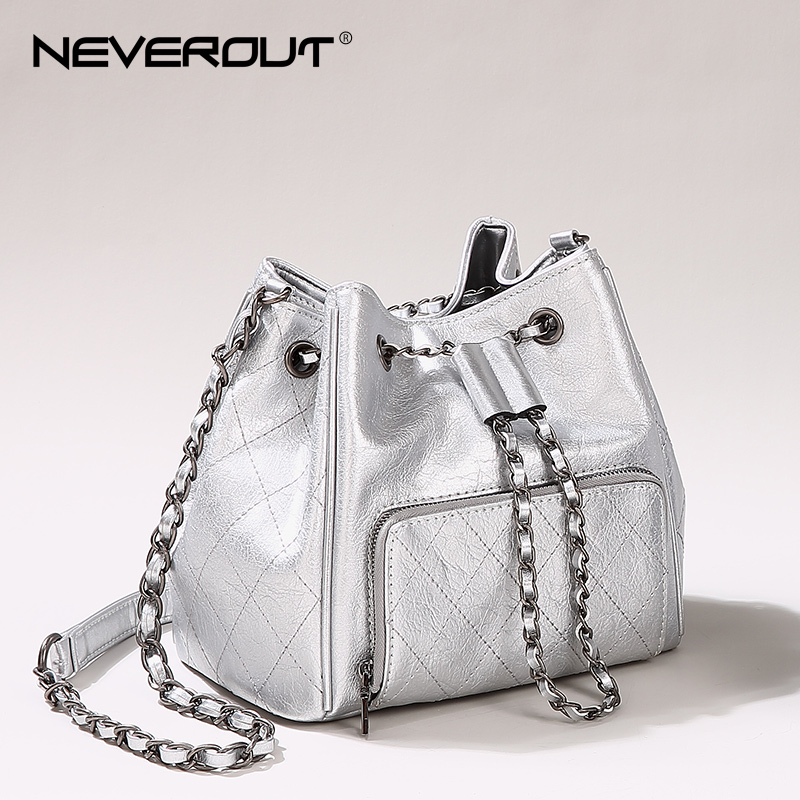 NEVEROUT Diamond Lattice Luxury Bag for Women Genuine Leather Messenger Bucket Bags Fashion Soft Black/Silver Shoulder Bags все цены