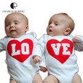 New baby clothing irmão gêmeo gêmeo do bebê bodysuit de manga comprida macacão bebê recém-nascido irmãs traje meninos menina roupas de outono