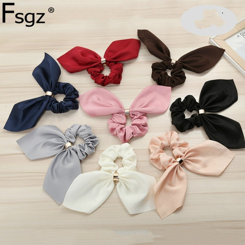 New Silk Scrunchie For Women Elastic Hair Girls Solid Knot Ties Metal Button Rubber Bands Ribbon Headwear Accessories