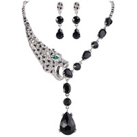 Tuliper Leopard Panther Animal Jewelry Set Black Austrian Crystal Rhinestone Necklace Earrings Set For Party Jewelry Gift