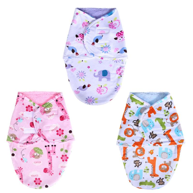 Newborn Envelope Blankets Receiving Swaddle Wrap Soft Short Plush Double Layer Cartoon Printing Cotton Sleeping Bag for Baby