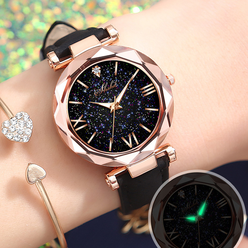 Fashion Starry Sky Women's Watches Rose Gold Women Dress Clock Ladies Girls Casual Leather Quartz Creative Watch Reloj Mujer