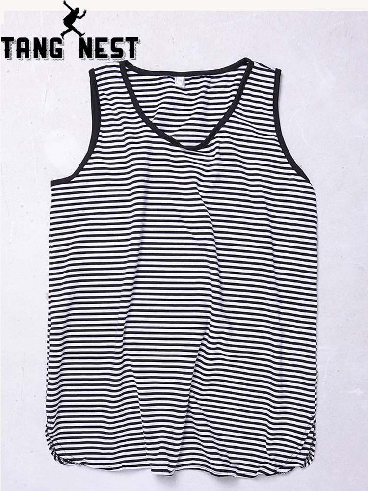 TANGNEST 2019 New Striped Casual O-Neck Men   Tank     Tops   Two Styles Hot Sale Summer Fashion Slim Comfortable Vest Men MTN030