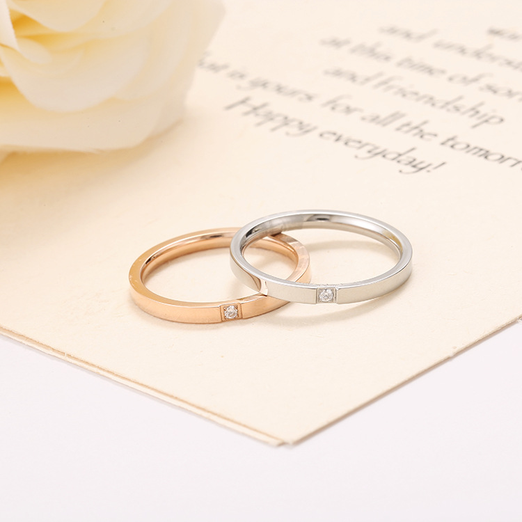 Titanium Steel Pave Setting Single Cubic Zirconia Crystal Ring Classic Rose Gold Engagement Wedding Rings For Women Anneau BXJ05