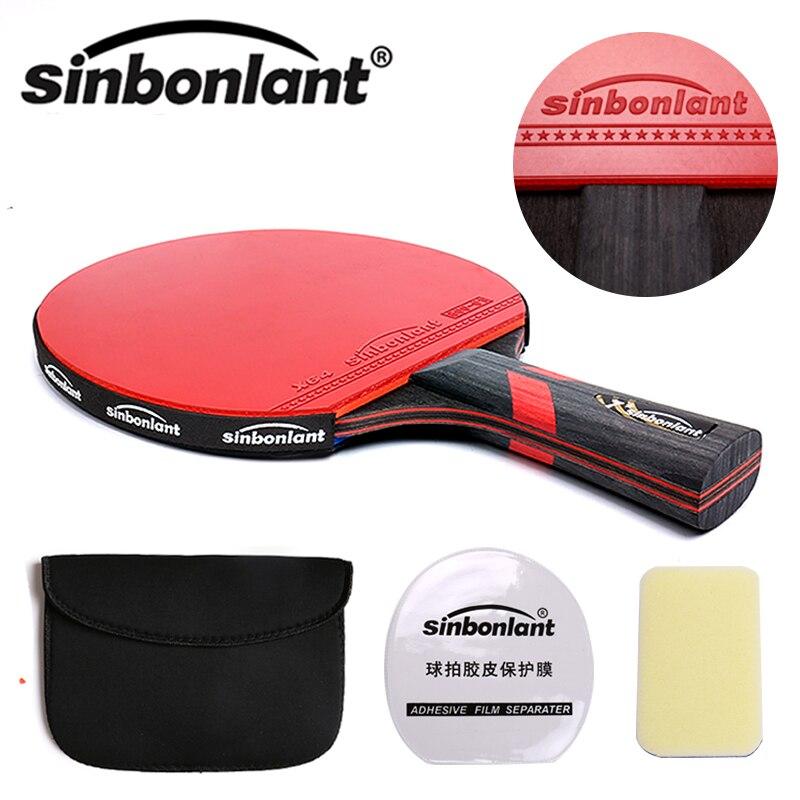 Lidar com lâmina de carbono raquete de tênis de mesa longa alça curta espinhas em raquetes de ping pong de borracha com dupla face com caso