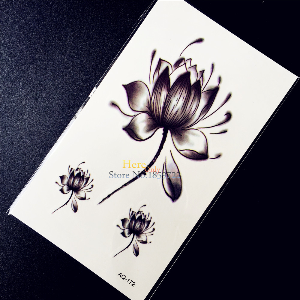Popular lotus makeup products buy cheap lotus makeup products lots black lotus flower temporary tattoo henna paste women makeup tips tattoo stickers haq 172 3d dhlflorist Gallery