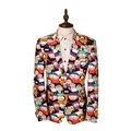 Новые Люди Blazer Куртка Марка Дизайн Роскошный Пиджак Homme Повседневная Мультфильм Печатных Slim Fit Мужская Пиджаки Мужские Костюм Куртки