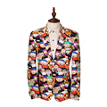New Mens Blazer Jacket Brand Design Luxury Blazer Homme Casual Cartoon Printed Slim Fit Mens Blazers Mens Suit Jacket