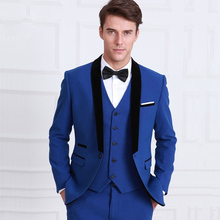 Royal Blue Groomsmen Wedding Tuxedos for Men Black Shawl Lapel 3 Piece Suits Set Jacket Pants Vest