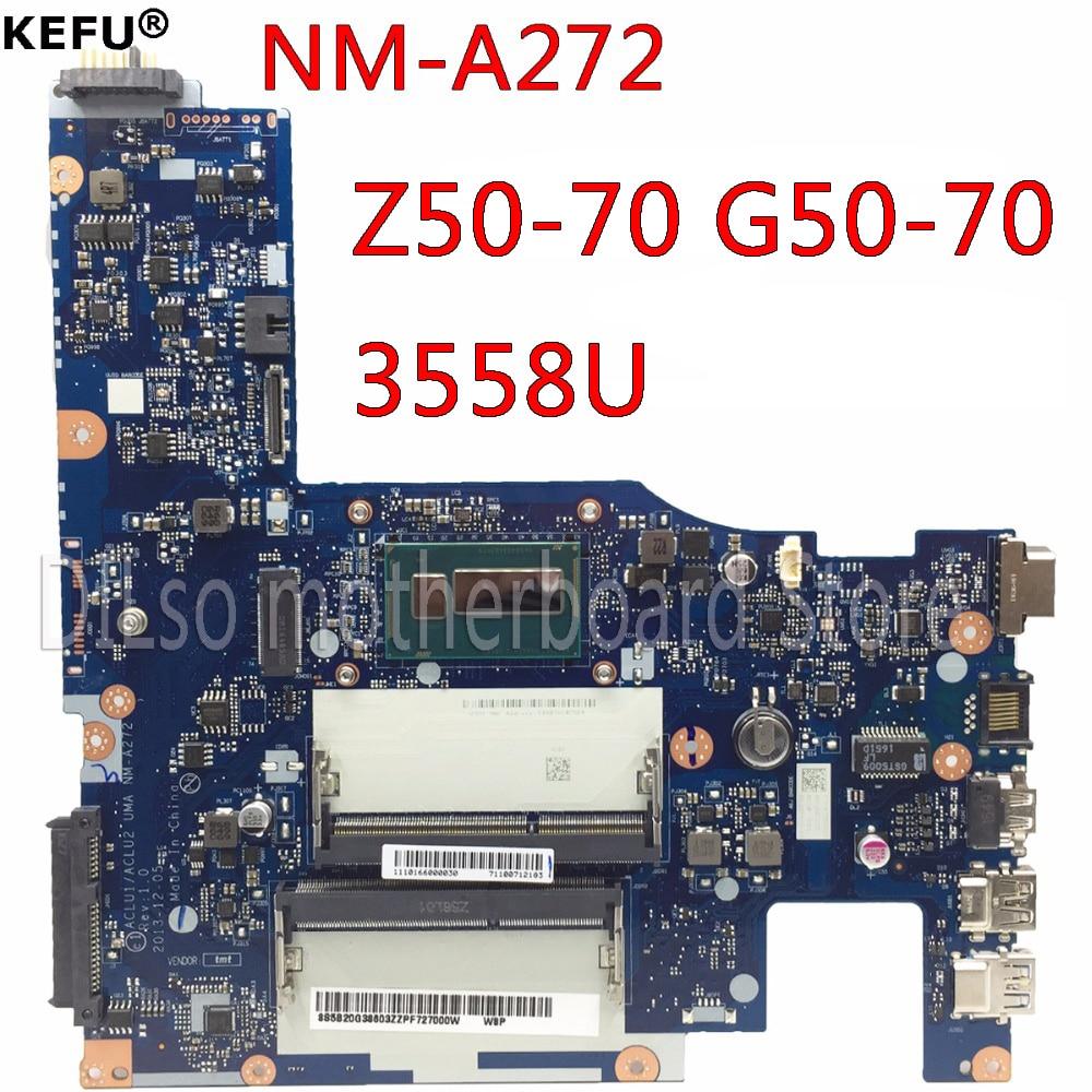 KEFU G50-70 laptop Motherboard for Lenovo G50-70 G50-70M Z50-70 motherboard ACLU1/ACLU2 NM-A272 3558U CPU Test motherboardKEFU G50-70 laptop Motherboard for Lenovo G50-70 G50-70M Z50-70 motherboard ACLU1/ACLU2 NM-A272 3558U CPU Test motherboard