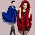 hot  6 Colours Fall Winter New Soft Wool Cashmere Fox Fur Poncho Shawl Women Pashmina Outerwear Faux Fur Tassel Hooded Cape Coat