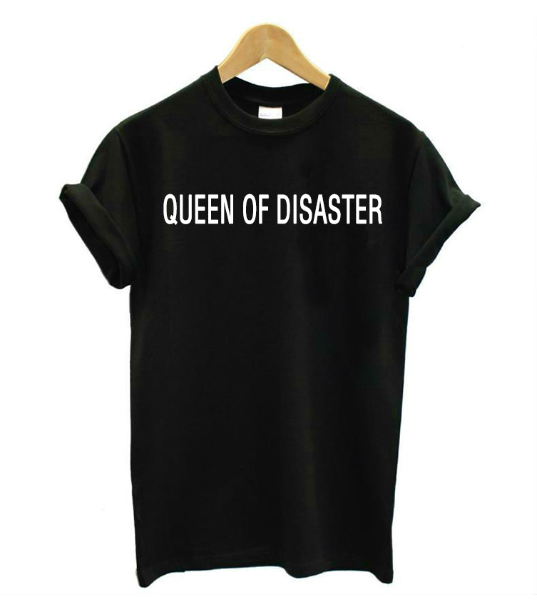 Queen of disaster letters print women tshirt cotton casual for Drop ship t shirt printing
