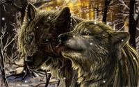 Animal wolf woods snow fantasy 4 Sizes Wall Decor Canvas Poster Print