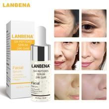 Lanbena 24 k ouro seis peptides soro creme de rosto anti-envelhecimento rugas lift endurecimento clareamento hidratante acne tratamento cuidados com a pele