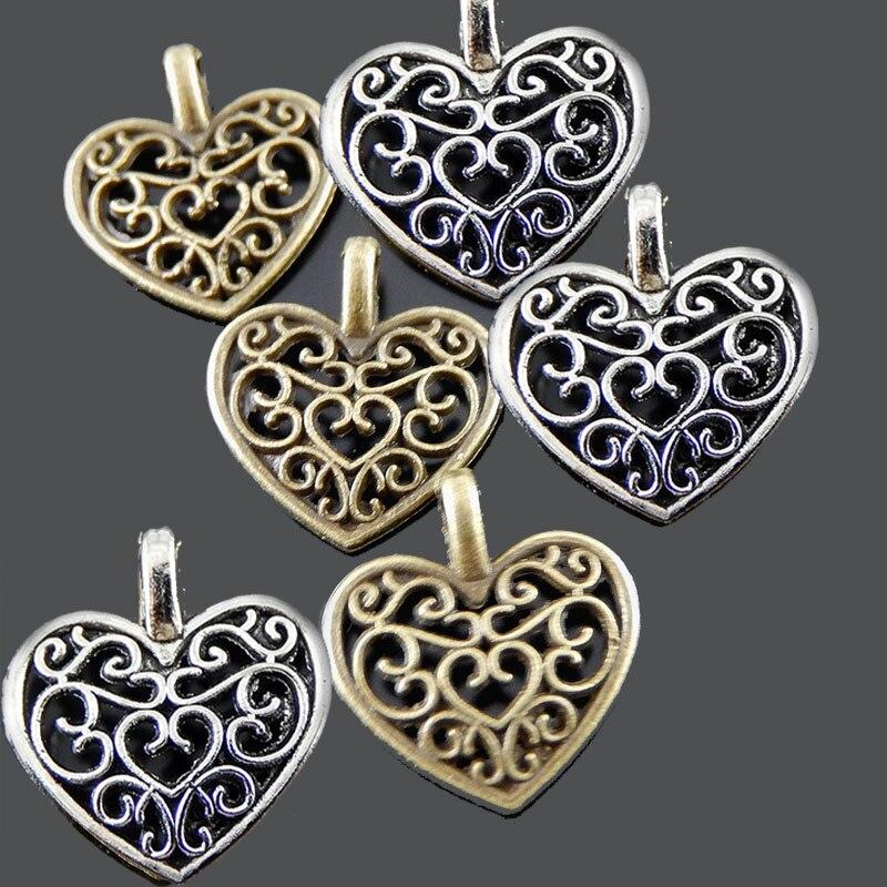 100pcs Women Pearl Pendants Charms Necklace Antique Bronze Jewelry Findings