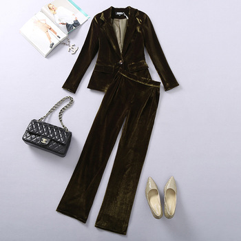 Women's suit ladies velvet fashion slim temperament suit 2 piece set (jacket + pants) women's ball party dress
