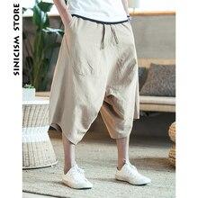 Sinicism 5XL мужские дикие промежности шаровары летние мешковатые брюки из натурального хлопка размера плюс мужские дикие ноги свободные брюки шнурок
