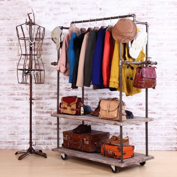industrial wind do the old wood metal pipe hanging clothes