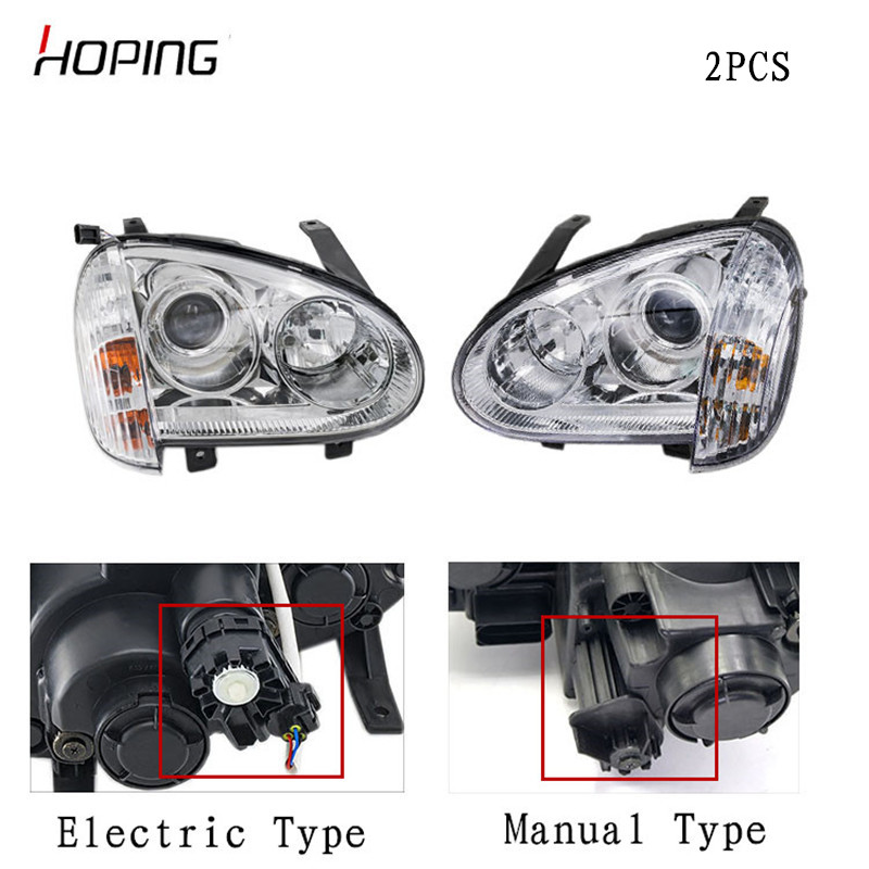 Hoping 2PCS Auto Front Headlight Headlamp For For Great Wall Wingle 3 2006 2007 2008 2011 Manual /Electric Type Head Light