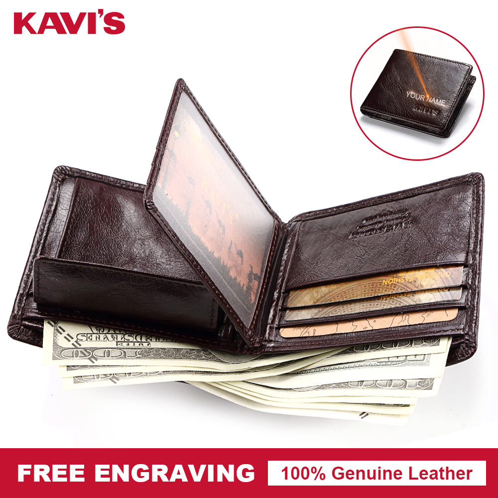 KAVIS Rfid High Quality 100% Genuine Leather Wallet Men Coin Purse Portomonee PORTFOLIO Card Holder Male Cuzdan Perse Fashion