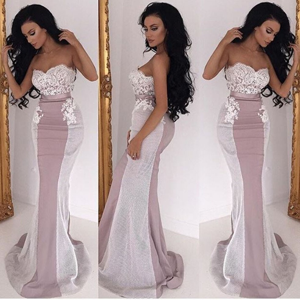 Latest Strapless Ribbon abendkleider Beaded Lace White and Red Bridal Gown Custom Made 2018 vestido de noiva   bridesmaid     dresses