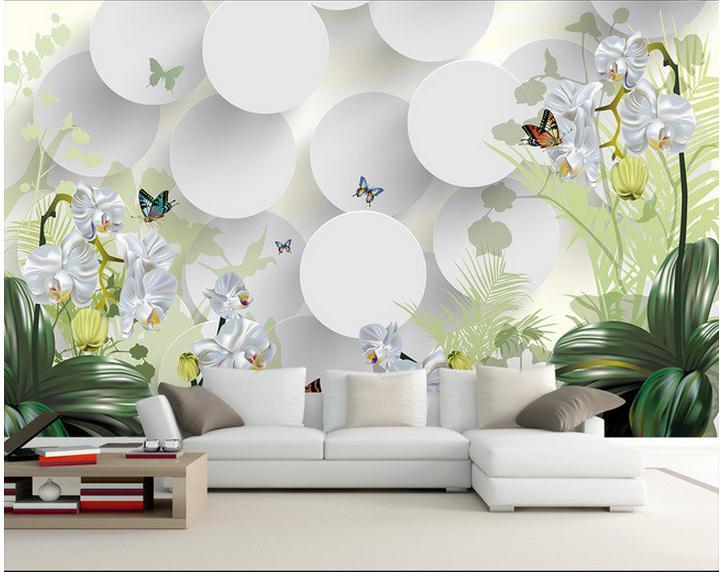 Купить с кэшбэком Custom photo wallpaper 3d wallpapers murals Idyllic landscape orchid flower TV sofa background wallpaper 3d mural wall papers