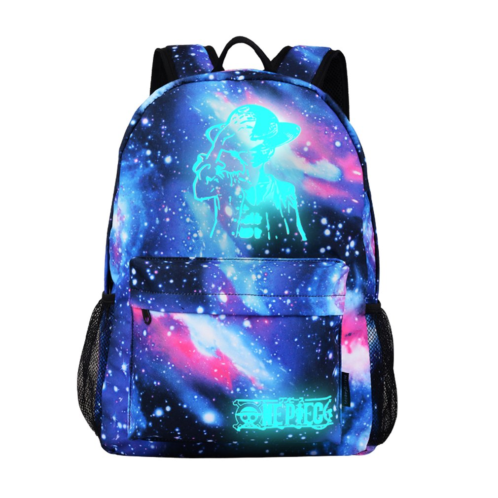 Luminous Backpack For Women Men Cartoon ONE PIECE Luffy Printed Backpack School Rucksack Shoulder Satchel Bag For Girls Boys