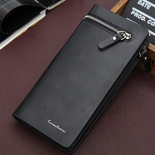 Men's Faux Leather Long Zipper Clutch Wallets Business Card Holder Coin Purse Wallet 1pcs anime fairy tail faux leather long wallet purse zipper holder cosplay collection