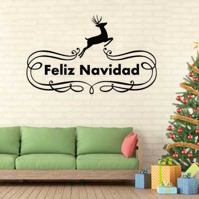 spanish feliz navidad wall stickers reindeer christmas decoration for home vinyl wallpaper home decor living room - Spanish Christmas Decorations