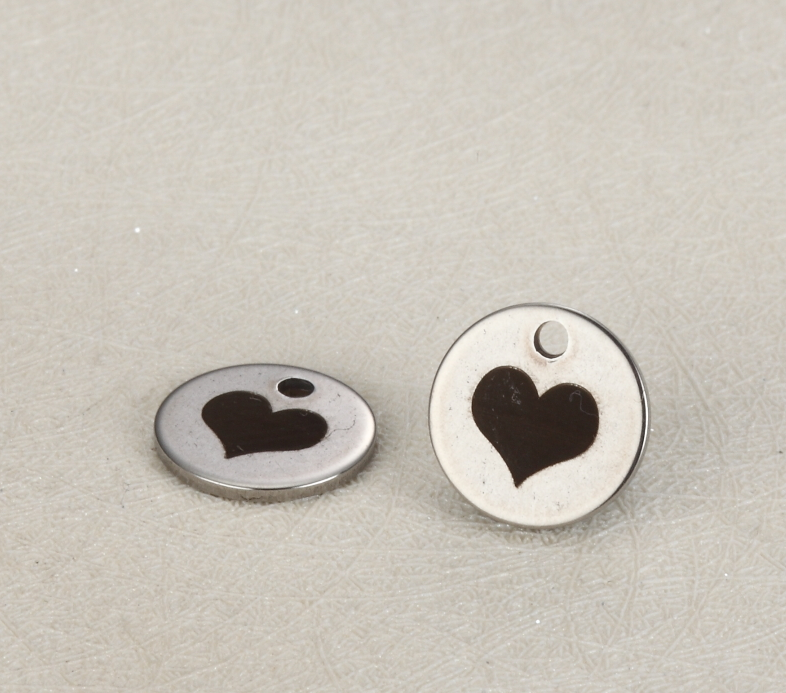20pcs/lot 10mm Stainless Steel Round Disc Charms Engraved Heart LOVE  For Diy Jewellery Making