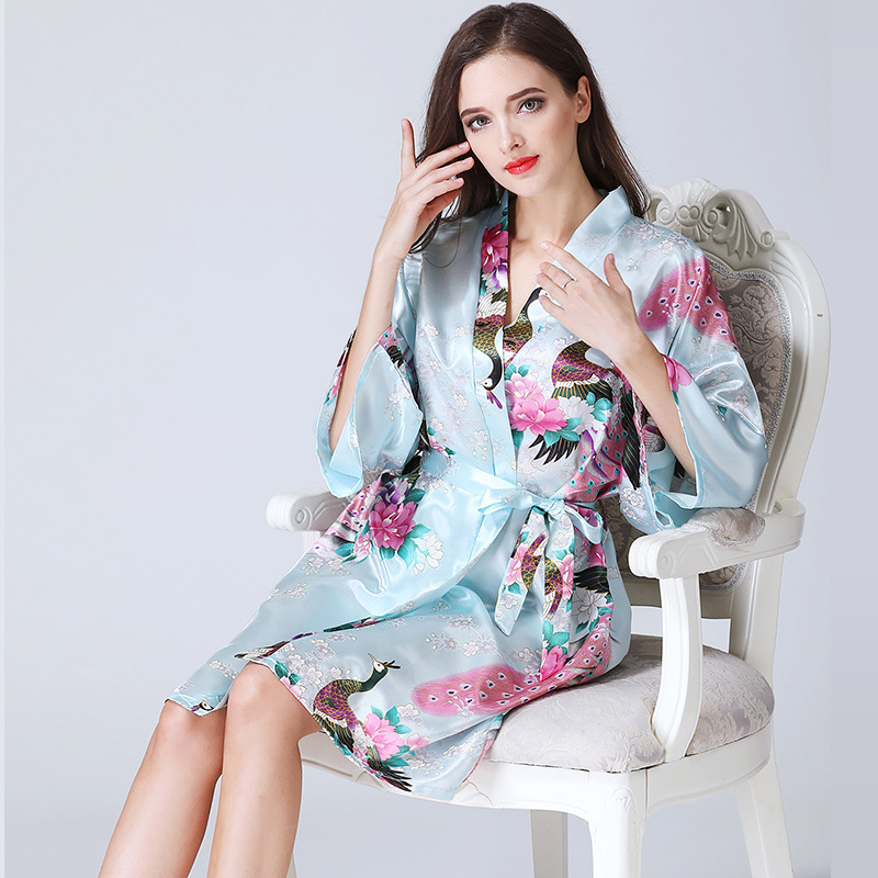 Women Long Robe Brand New Ladies Faux Silk Floral Summer Bathrobe Thin Female Luxury Plu ...