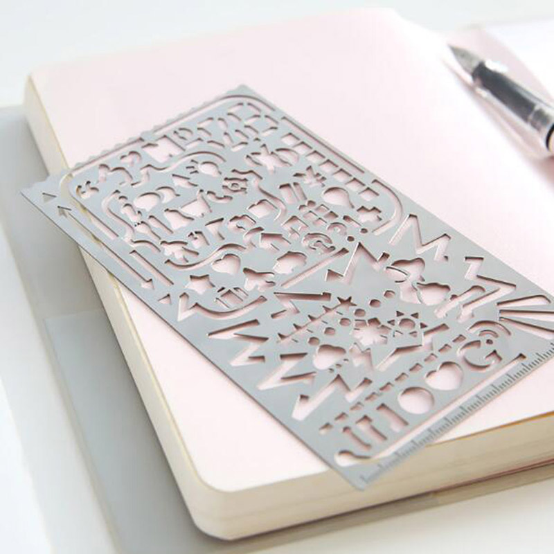 Vintage Portable Stainless Steel Stencils Hollow Ruler Planner Travel Diary Notebook Diy Tool Template Gift Stationery jianwu 1pc cute creative lace ruler stencil painting diy decoration hollow template painting tool pp scrapbook manual supplies