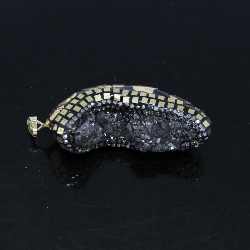 5PCS Rainbow Titanium Gun Black Druzy Quartz Nuggets Pendant,Drusy Geode Paved Copper Gold Foil Tiny Slice Crystal Pendant