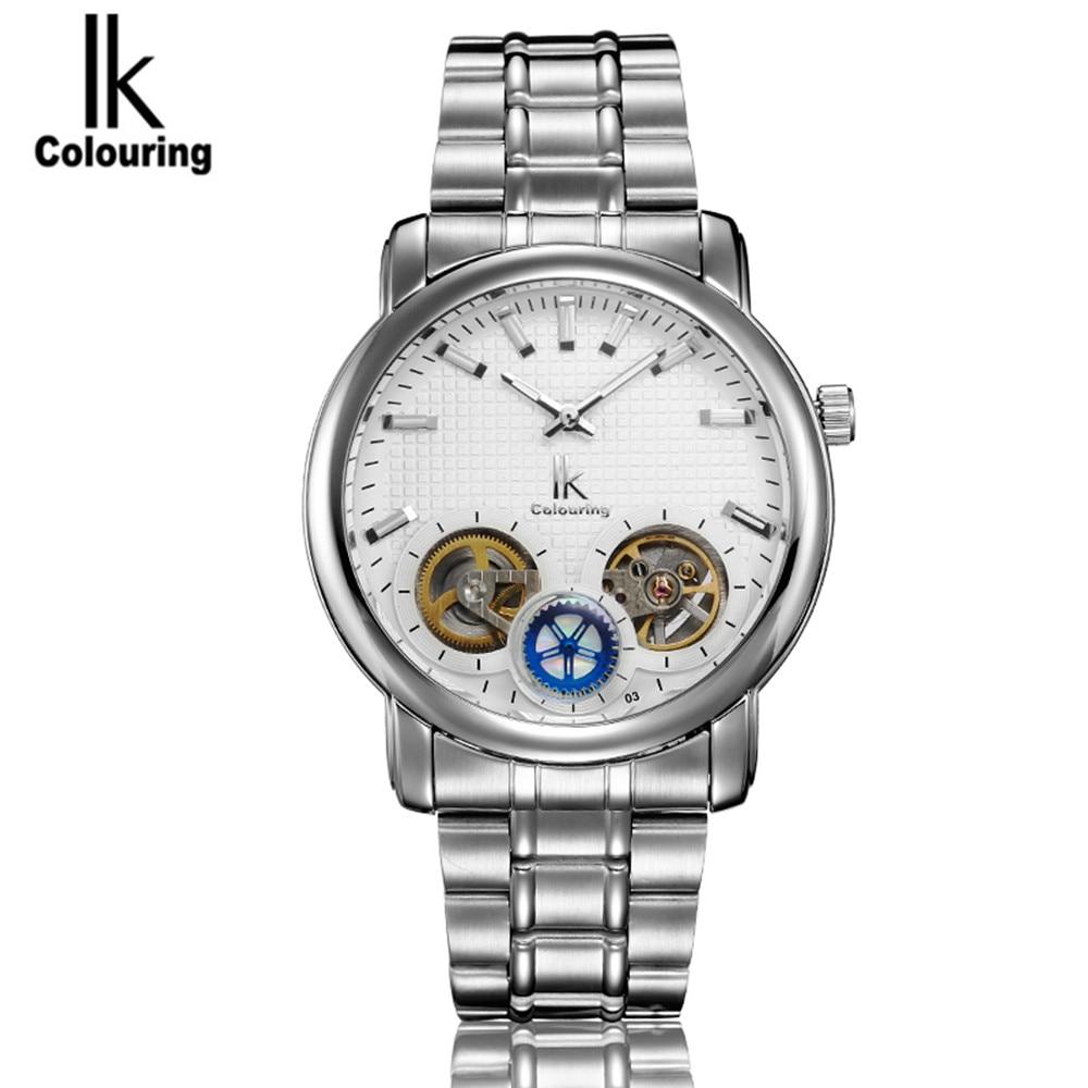 ФОТО IK Mens Watches Horloges Mannen Top Brand Luxury Men's Automatic Tourbillion Mechanical Watch Wristwatch Free Ship
