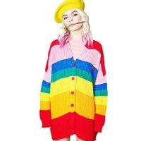 2017 Oversize women's new long knit Cardigan loose fluffy fashion Europe full sleeves autumn sweat jacket coats