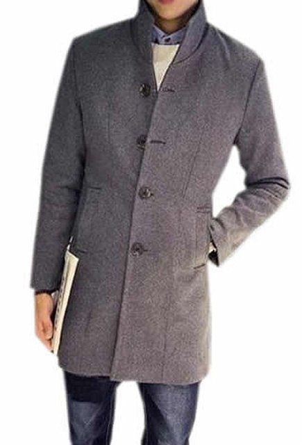 ca613b8920b6 Generic Men s  Fashion Single Breasted Long Stand Color Peacoat-in ...