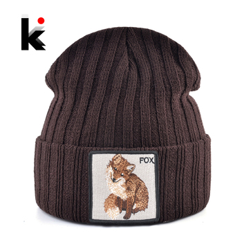 Fashion Skullies Beanies With Fox Embroidery Patch Winter Warm Knitted Hats Women Double Layer Knitting Bonnet Cap Men Solid Hat 1