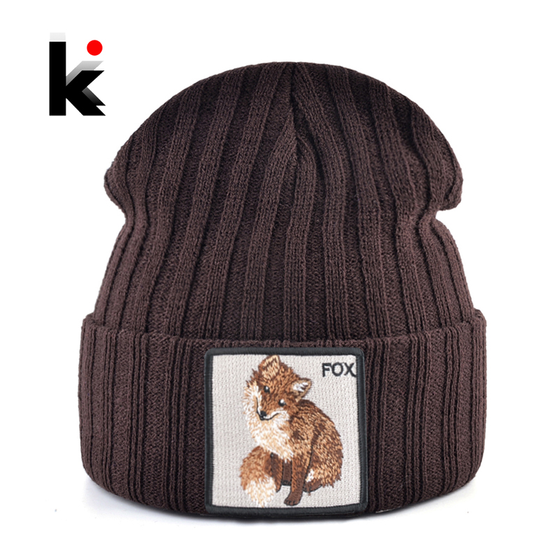 Fashion   Skullies     Beanies   With Fox Embroidery Patch Winter Warm Knitted Hats Women Double Layer Knitting Bonnet Cap Men Solid Hat