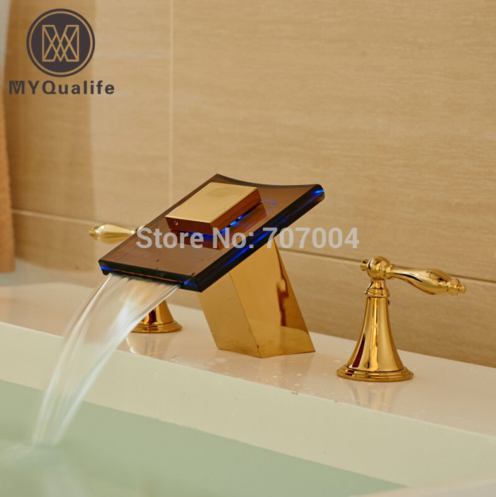Golden Dual Handles Waterfall Glass Spout LED Colors Basin Sink Faucet Deck Mount 3pcs Bathroom Mixer Tap deck mount waterfall spout 3pcs brass basin sink faucet dual handles 3 holes mixer tap chrome finish