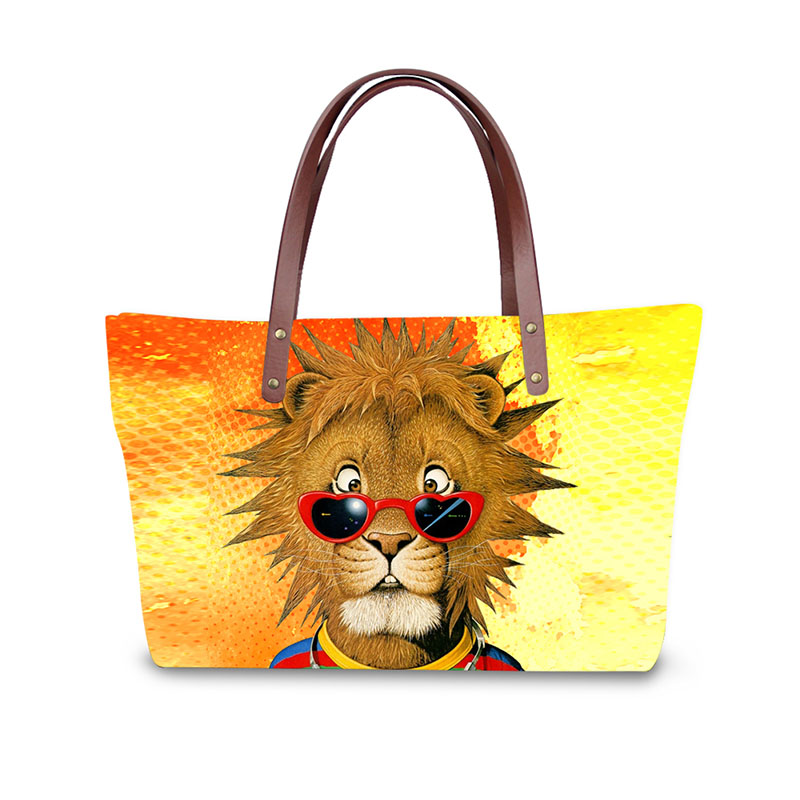 Handbag for Women 2019 New Fashion Bags Shoulder Bag Beach Bag 3D Cartoon nimal Print Pattern Design Tote Bolso in Shoulder Bags from Luggage Bags