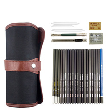 Portable Sketch Pencil Set Painting 2b 4b 6b Art Starter Kit Roll Up Canvas Carry Pouch
