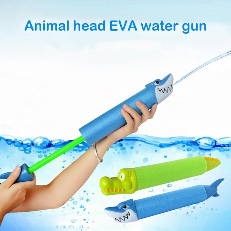 Kids Funny Water Gun Toys Animal Head Shaped Plastic Beach Pearl Cotton Water Gun Children Swimming Play Water Toys Random Color