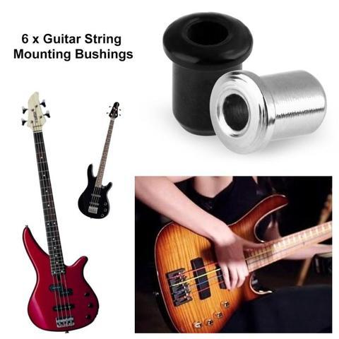 6pcs Metal String Mounting Ferrules Bushings for Electric Guitar Parts Silver Multan