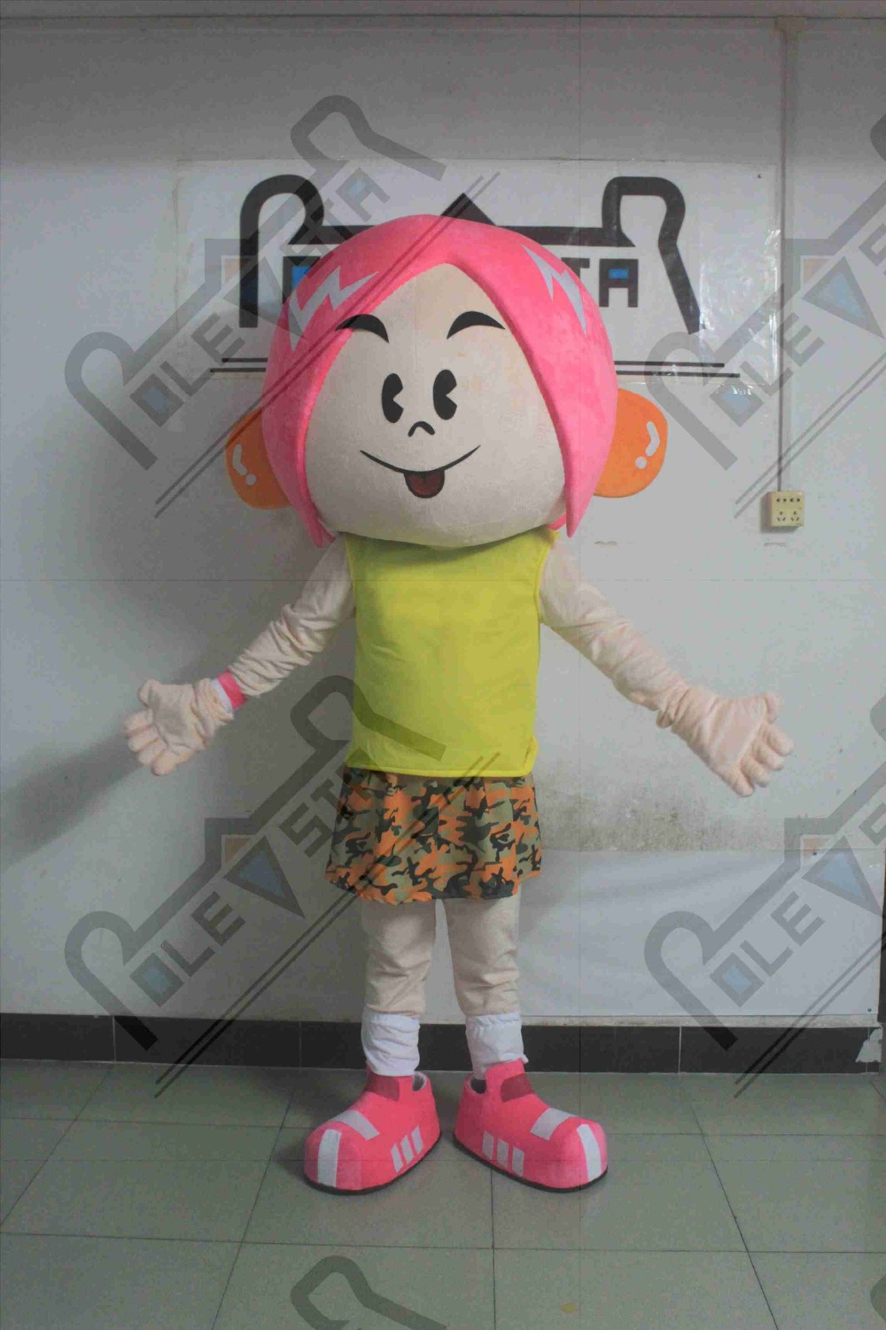 PINK hair girl mascot costumes game cartoon kids costumes hot sale fashion girl costumes
