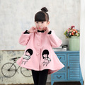 Девушки Стеганые Детские Красный Розовый Шерстяные Пальто Детей Clothing Красный Серый Розовый Хлопок