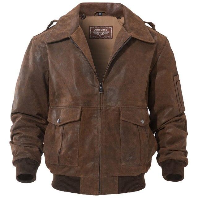 FLAVOR Men s Genuine Leather Bomber Jacket Men Warm Real Pigskin Air Force Leather  Jacket Removable Fur Collar Aviator Coat 81cb51491a49