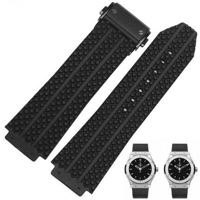 TJP Mens Womens 25*19 21*14mm Black White Silicone Rubber Watch Strap Belt Watchband For HUBLO BIG BANG Watch With Clasp Buckle beautiful cartoon rubber strap quartz watch with plane and cloud shaped watchband for children azure