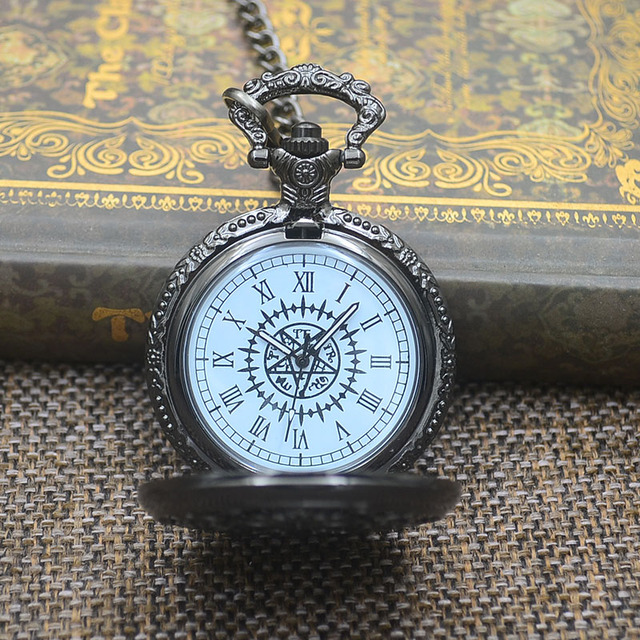 Fashion Kuroshitsuji Black Butler Quartz Pocket Watch Pendant Necklace Women Analog Men Fob Watches Gift Retro Roman 2017 New