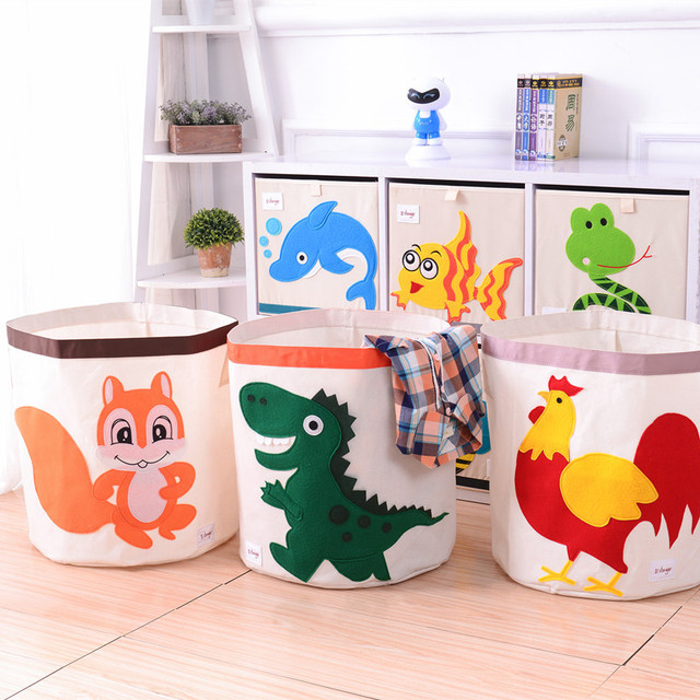 New Cartoon Folding Canvas Storage Bag Clothes Organizers Kid Toys Storage  Box Laundry Large Storage Basket