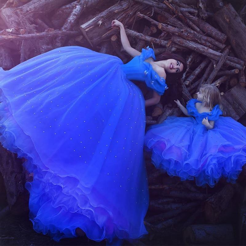 Royal Blue Flower Girl Dresses for Wedding Cinderella Girls Dress Princess Children Birthday Pageant Fancy Wedding